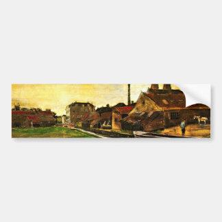 Van Gogh Iron Mill in The Hague, Vintage Fine Art Bumper Sticker