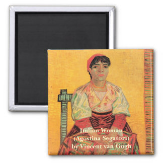 Van Gogh, Italian Woman, Vintage Portrait Art 2 Inch Square Magnet