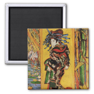 Van Gogh Japanese Courtesan Oiran Vintage Portrait 2 Inch Square Magnet
