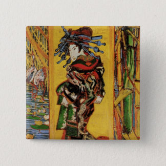 Van Gogh Japanese Courtesan Oiran Vintage Portrait Button