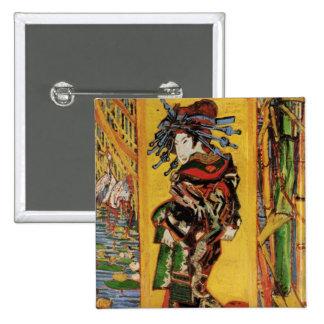 Van Gogh Japanese Courtesan Oiran Vintage Portrait 2 Inch Square Button