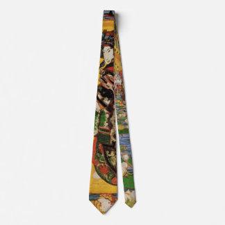 Van Gogh Japanese Courtesan Oiran Vintage Portrait Neck Tie