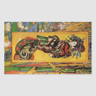 Van Gogh Japanese Courtesan Oiran Vintage Portrait Rectangular Sticker
