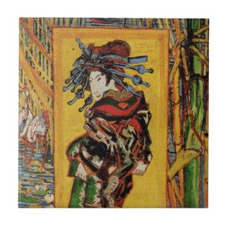 Van Gogh Japanese Courtesan Oiran Vintage Portrait Tile