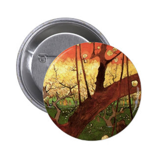 Van Gogh Japanese Flowering Plum Tree, Fine Art Button
