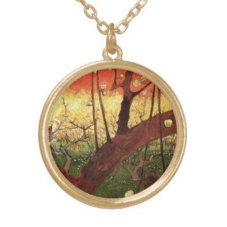 Van Gogh Japanese Flowering Plum Tree, Fine Art Gold Plated Necklace