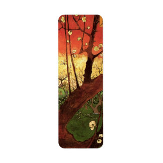 Van Gogh Japanese Flowering Plum Tree, Fine Art Label