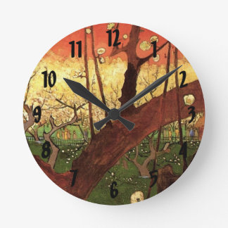 Van Gogh Japanese Flowering Plum Tree, Fine Art Round Clock