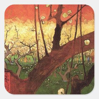 Van Gogh Japanese Flowering Plum Tree, Fine Art Square Sticker