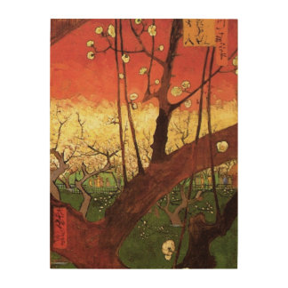 Van Gogh Japanese Flowering Plum Tree, Fine Art Wood Wall Art