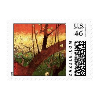 Van Gogh Japanese Flowering Plum Tree, Vintage Art Stamp