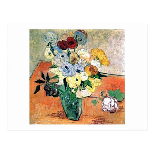 Van Gogh Japanese Vase, Roses, Anemones (F764) Postcard