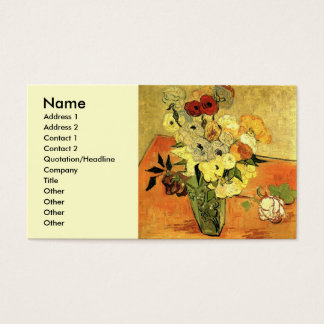 Van Gogh Japanese Vase with Roses and Anemones Business Card