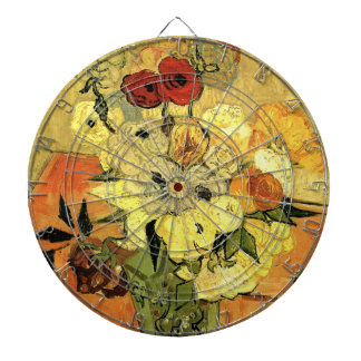 Van Gogh Japanese Vase with Roses and Anemones Dart Board