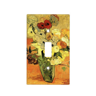 Van Gogh Japanese Vase with Roses and Anemones Light Switch Cover
