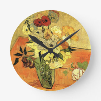 Van Gogh Japanese Vase with Roses and Anemones Round Clock