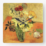 Van Gogh Japanese Vase with Roses and Anemones Square Wall Clock