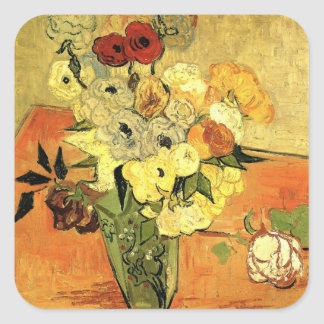 Van Gogh Japanese Vase with Roses and Anemones Square Sticker