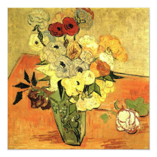 Van Gogh Japanese Vase with Roses Christmas Party Card