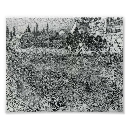 Van Gogh - jardín con las flores Póster