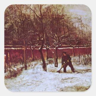 Van Gogh; Jardín del Parsonage en Nuenen en la Pegatina Cuadrada