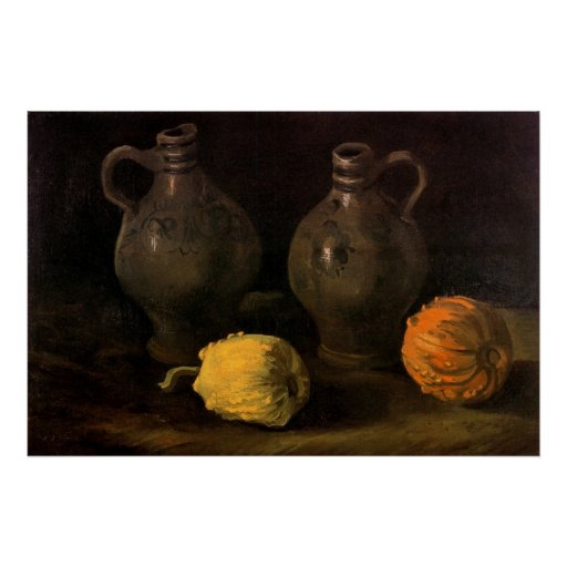 Van Gogh, Jars and 2 Pumpkins, Vintage Still Life Poster