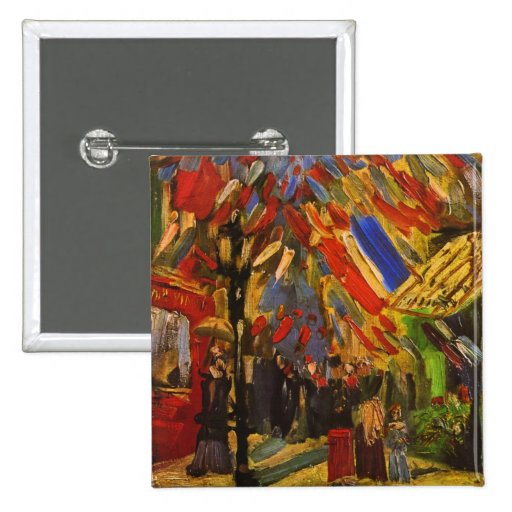 Van Gogh July 14th Celebration in Paris (F222) Pinback Button
