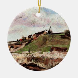 Van Gogh; La colina de Montmartre con la mina Adorno Redondo De Cerámica