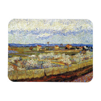 Van Gogh - La Crau With Peach Trees In Blossom Rectangle Magnet