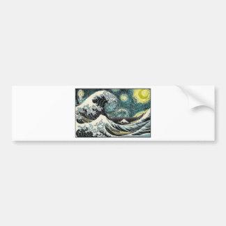 Van Gogh la noche estrellada - Hokusai la gran Pegatina Para Auto