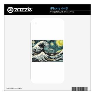 Van Gogh la noche estrellada - Hokusai la gran Calcomanías Para iPhone 4S