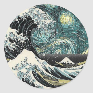 Van Gogh la noche estrellada - Hokusai la gran Pegatina Redonda