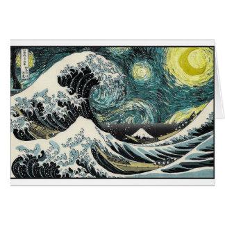 Van Gogh la noche estrellada - Hokusai la gran Tarjeta De Felicitación