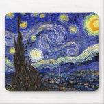 Van Gogh la noche estrellada Tapetes De Ratones
