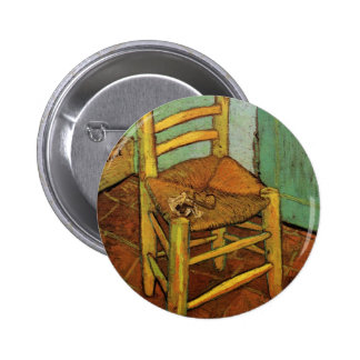 Van Gogh; La silla de Vincent con el tubo, arte Pin Redondo De 2 Pulgadas