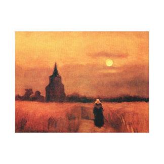 Van Gogh - la torre vieja en los campos Impresión En Lienzo Estirada