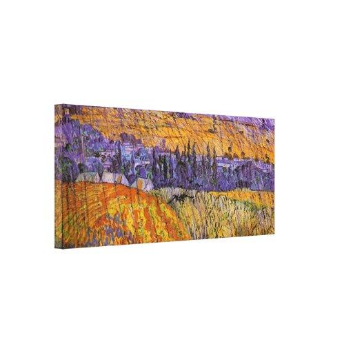 Van Gogh Landscape Auvers in Rain, Vintage Weather Canvas Prints