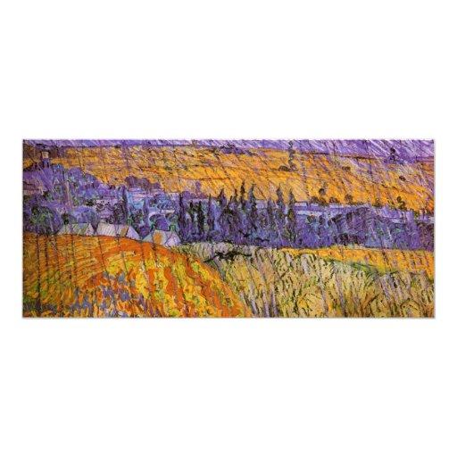 "Van Gogh Landscape Auvers in Rain, Vintage Weather 4"" X 9.25"" Invitation Card"