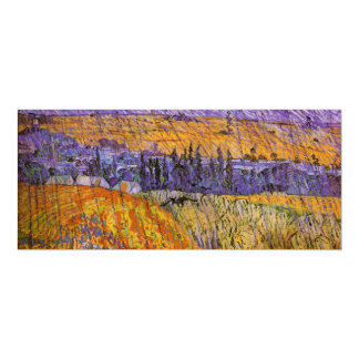 Van Gogh Landscape Auvers in Rain, Vintage Weather Personalized Invite