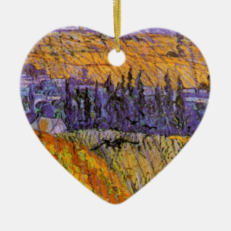 Van Gogh Landscape Auvers in Rain, Vintage Weather Double-Sided Heart Ceramic Christmas Ornament