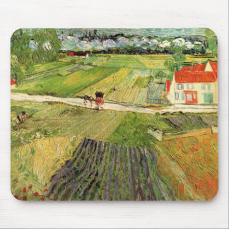 Van Gogh Landscape Carriage and Train, Fine Art Mouse Pad