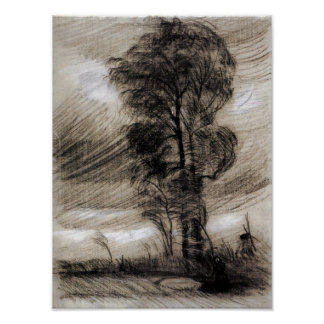 Van Gogh - Landscape in Stormy Weather Poster