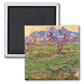 Van Gogh Landscape, Olive Tree, Mountains Magnets