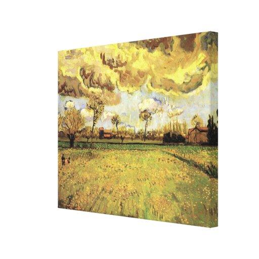 Van Gogh Landscape Under Stormy Sky, Vintage Farm Gallery Wrapped Canvas