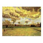 Van Gogh Landscape Under Stormy Sky, Vintage Farm Post Card