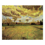 Van Gogh Landscape Under Stormy Sky, Vintage Farm Poster