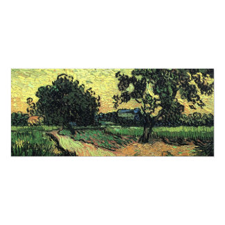 Van Gogh Landscape w Chateau of Auvers at Sunset Personalized Invitation