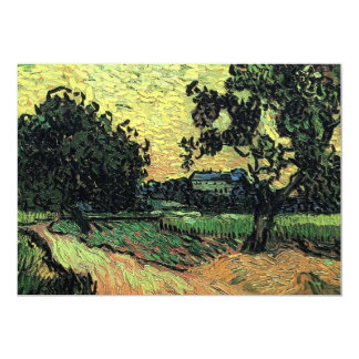 Van Gogh Landscape w Chateau of Auvers at Sunset 5x7 Paper Invitation Card