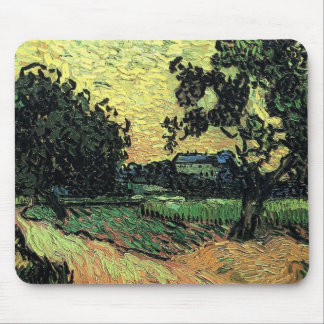 Van Gogh Landscape w Chateau of Auvers at Sunset Mouse Pad