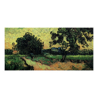 Van Gogh Landscape w Chateau of Auvers at Sunset Poster